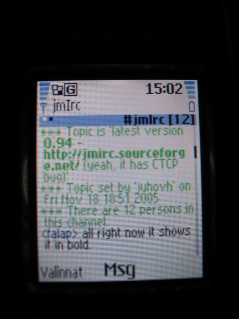 jmIrc on Nokia 6070